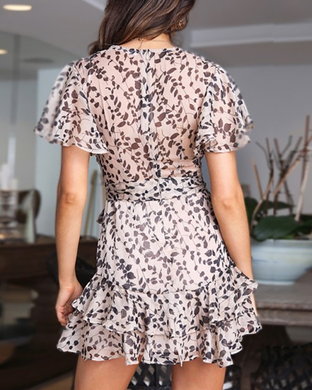 V-neck Floral Print Ruffles Dress