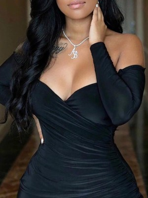 Off Shoulder Ruched Wrap Bodycon Dress