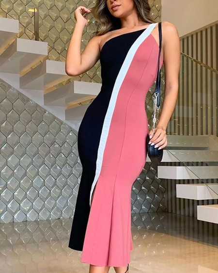 One Shoulder Colorblock Insert Fishtail Dress