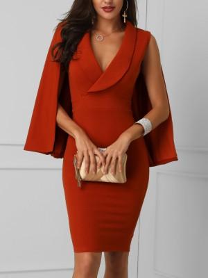 Plunge Cape Design Bodycon Dress