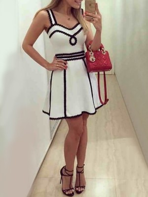 Spaghetti Strap Contrast Binding Mini Dress