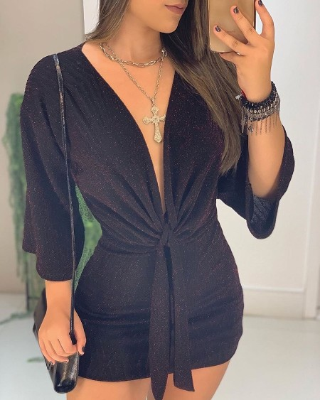 Glitter Plunge Knotted Design Bodycon Dress