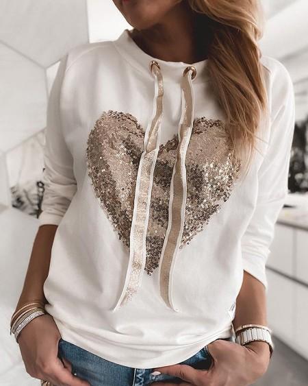 Sequin Heart Pattern Drawstring Sweatshirt