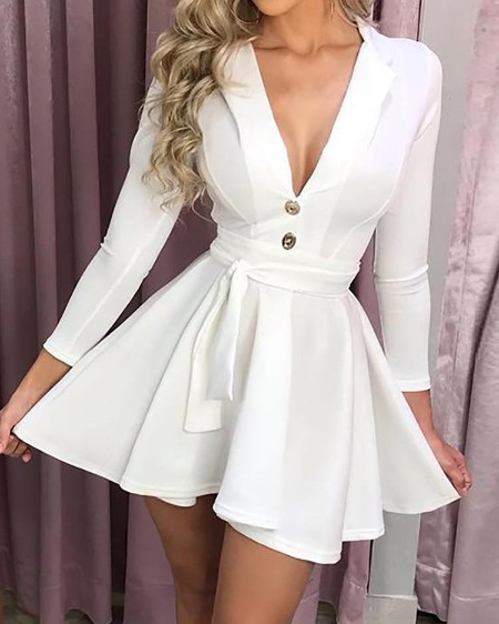 Long Sleeve Button Design Self Belted Dress