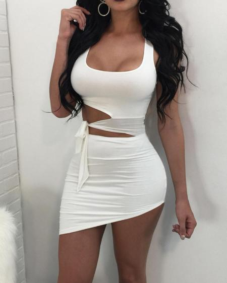 boutiquefeel / Sexy Cut Out Knotted Irregular Mini Dress