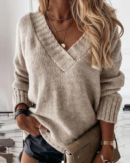 Long Sleeve Plain Casual Sweater