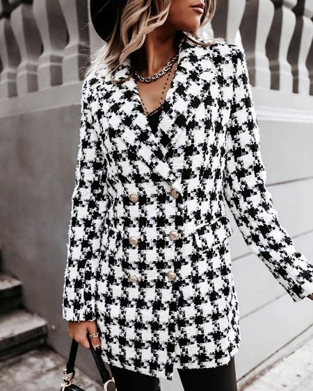 Casual Houndstooth Long Sleeve Coat