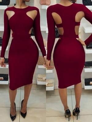 Sexy Women Cut Out Bodycon Midi Dress