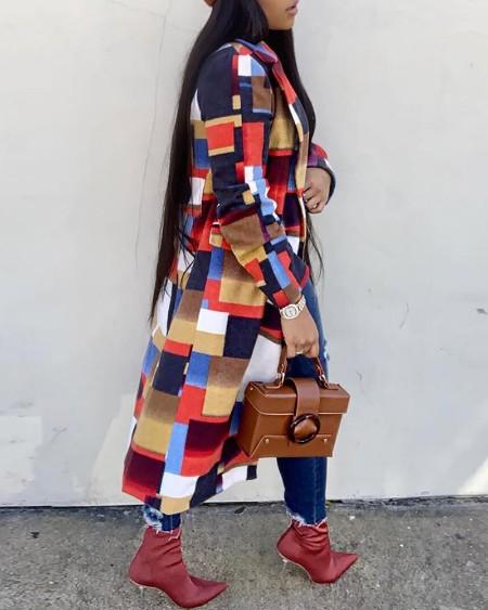 Geometry Pattern Print Colorblock Casual Longline Coat