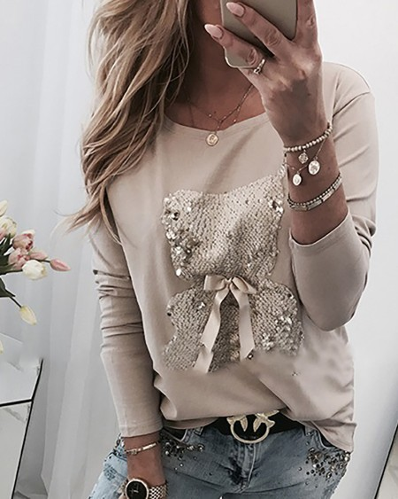 Bear Pattern Sequins Bowknot Round Neck Long Sleeve T-shirt
