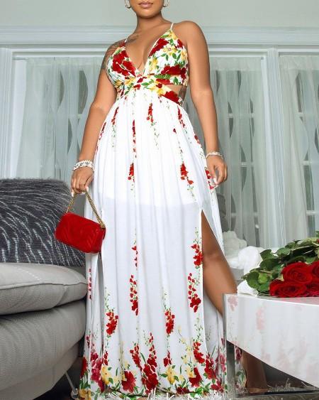 Floral Print High Slit Cami Maxi Dress