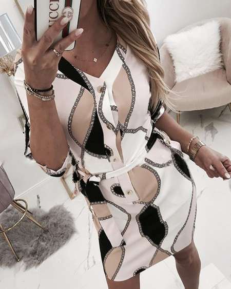 Chain Print Tied Waist Casual Shirt Dress