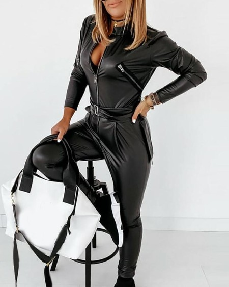 Zipper Design Long Sleeve PU Leather Skinny Jumpsuit