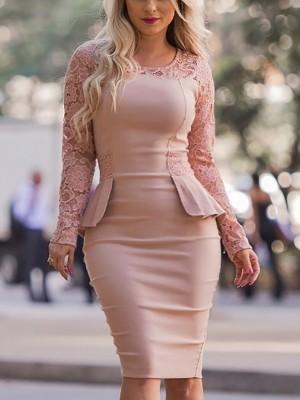 Lace Splicing Peplum Bodycon Dress
