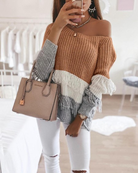 Colorblock Long Sleeve Loose Tassel Sweaters