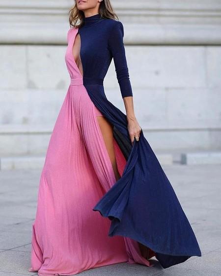 Colorblock Long Sleeve High Slit Maxi Dress