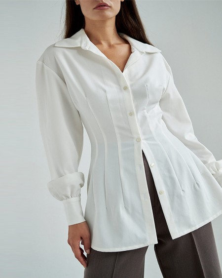 Plain Lantern Sleeve Button Front Shirt