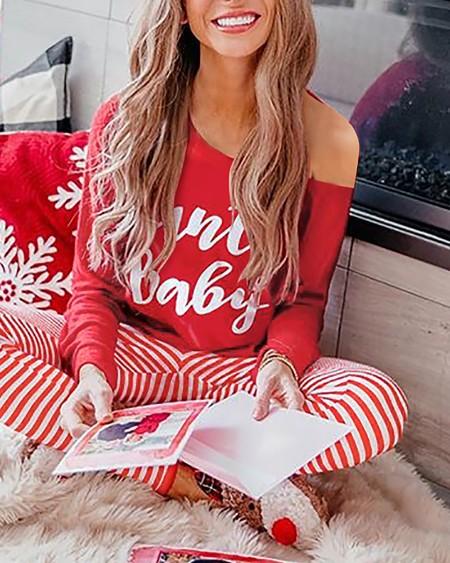 Christmas Letter Print Long Sleeve Top & Striped Pants Set