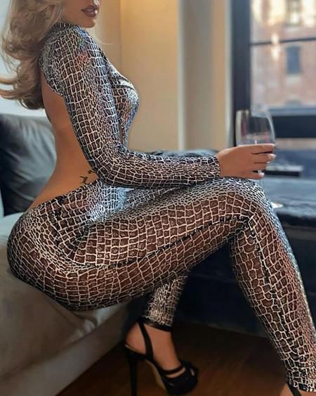 Snakeskin Print Zipper Front Backless Jumpsuit