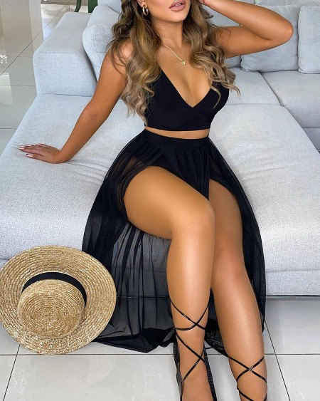 Solid Crop Top & Sheer Mesh High Slit Maxi Skirt Set