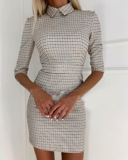 Houndstooth Half Sleeve Casual Dress