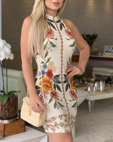 Botanical Print Sleeveless Casual Dress