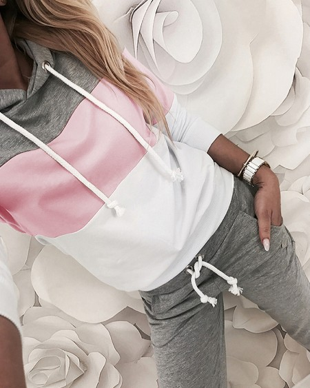 Drawstring Design Colorblock Hooded Top & Slinky Pant Sets
