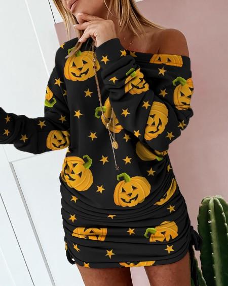 boutiquefeel / Halloween Pumpkin Star Print Casual Sweatshirt Dress
