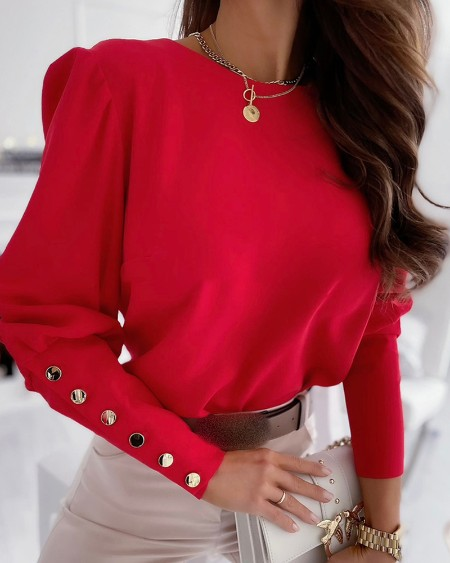 Button Decor Long Sleeve Top