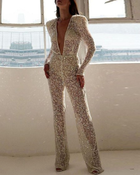 boutiquefeel / Plunge Long Sleeve Sequins Jumpsuit