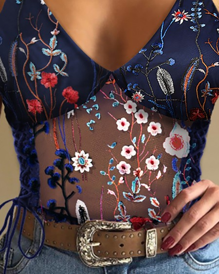 Embroidery Sheer Mesh Floral Print Top