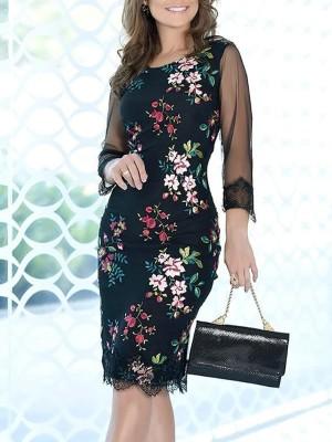 Floral Print Eyelas Lace & Mesh Patchwork Dress