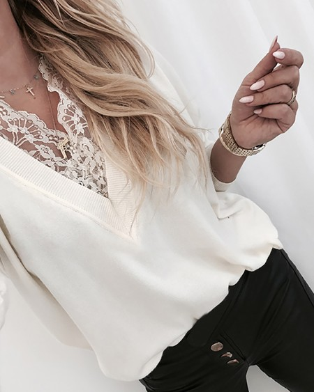V Neck Lace Insert Long Sleeve Blouse