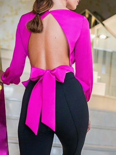 Solid Bowknot Design Open Back Blouse