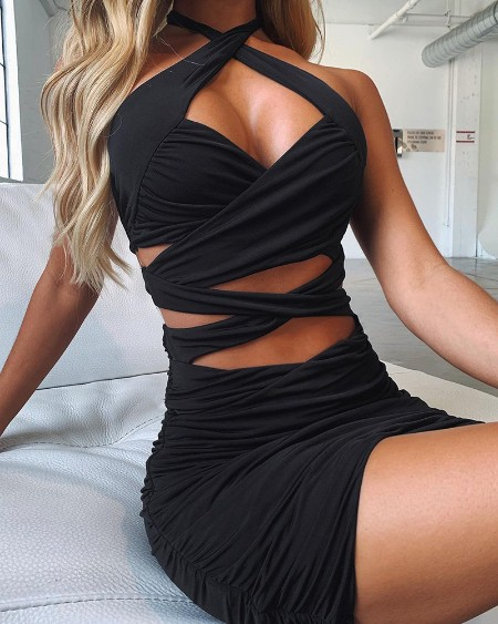 Plain Ruched Cutout Skinny Bodycon Dress