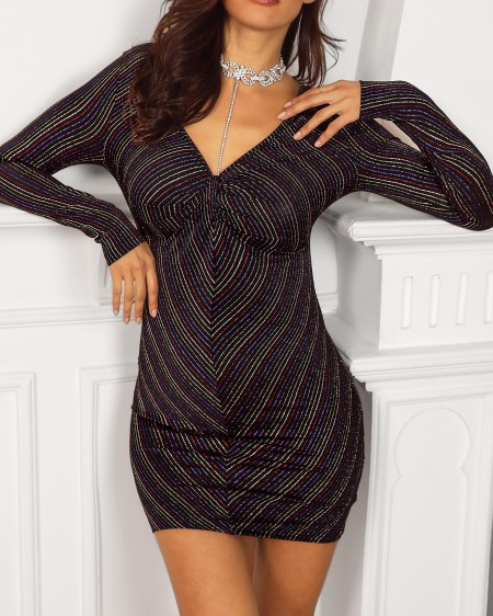 Multicolor Stripes Double V Gliiter Dress