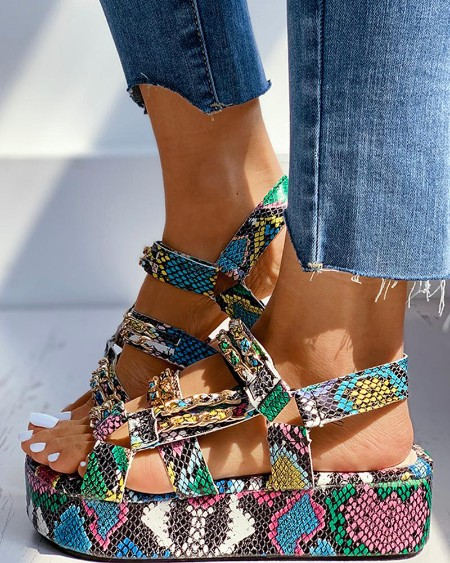 Snakeskin / Cheetah Print Velcro Platform Sandals