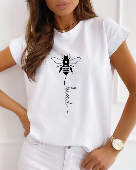 Bee Print Short Sleeve Casual T-shirt