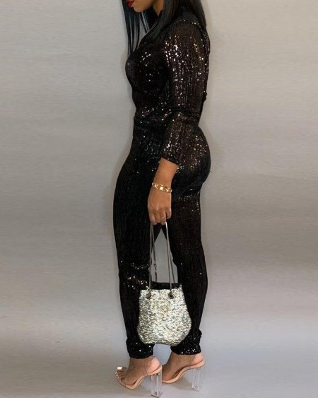 Sequins Zipped Design Tied Waist Jumpsuit
