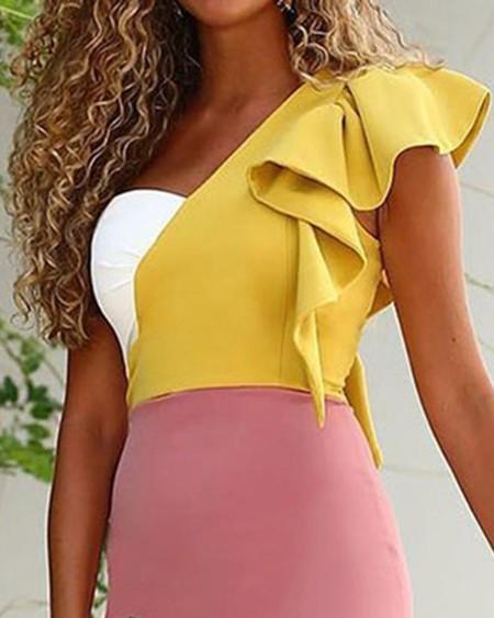 Contrast Color Ruffle One-shoulder Midi Dress