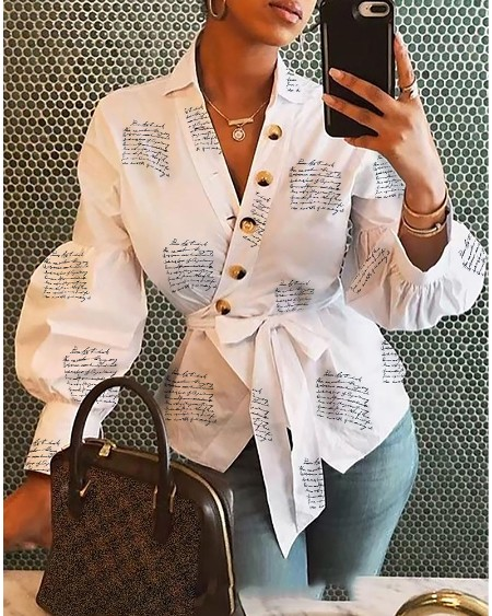 Lantern Sleeve Buttoned Surplice Wrap Printed Blouse