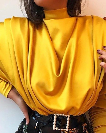 High Neck Batwing Sleeve Drape Front Blouse