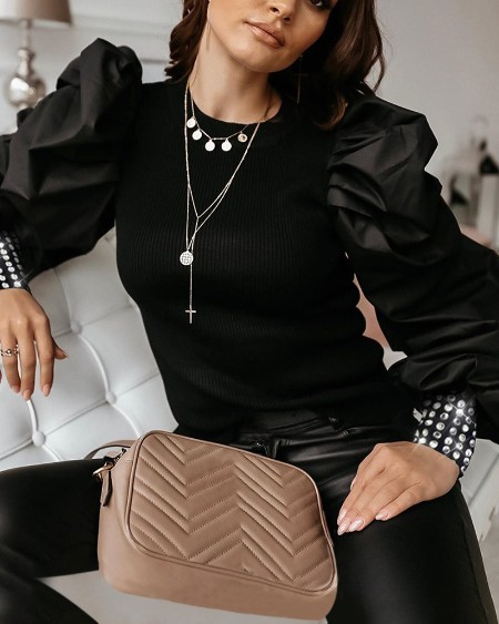 Puff Sleeve Studded Cuff Blouse
