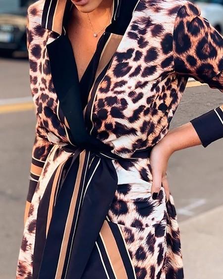 Leopard Print Striped Insert Shirt Dress