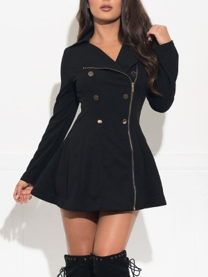 Solid Double Breasted Zipper Up Dress