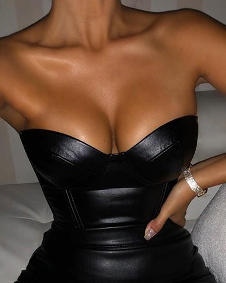 boutiquefeel / Off Shoulder Sweetheart PU Bodycon Mini Dress