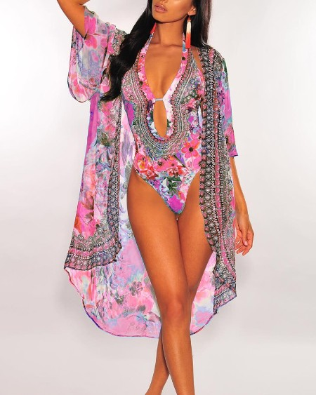 Floral Print One Piece Swimwear With Cover Up