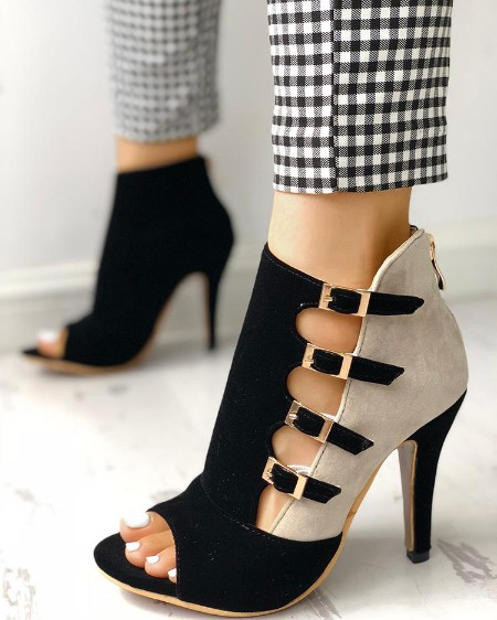 a41aa1e1352 Colorblock Splicing Hollow Out Buckled Thin Heels ...