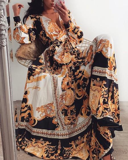 Long Sleeve Plunge Vintage Print Maxi Dress
