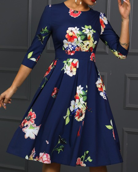 Round Neck Floral Print Ruched Dress
